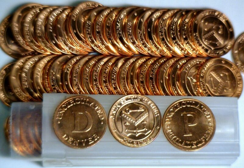 Mint Set Tokens ( P & D ) 50 Pcs. Ch / Gem BU Red Lincoln Cent LOT of 50 Coin s