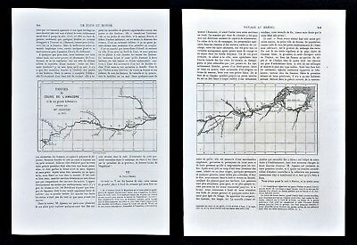 1868 Tour du Monde Maps x 2 - Amazon River Marajo to Tabatinga Manaus Tefe Para