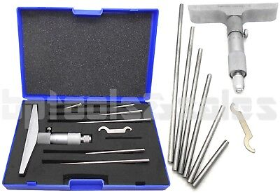 0-6 Depth Micrometer Wide 4 Base Machinist Mic Gauge Gage Tool 6 Rods Sae