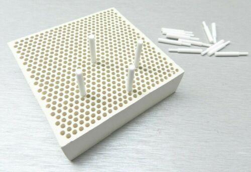 "Ceramic Honeycomb Block 4"" & Ceramic Pins Soldering Plate & Pins Jewelry Making"