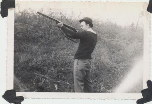 Vtg 1941 Real Photo Gentleman in Fedora Sweater & Dress Slacks Hunting w Rifle