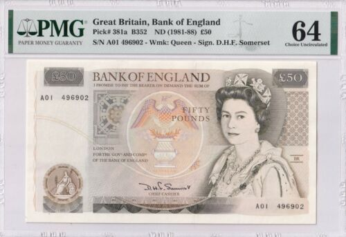 GREAT BRITAIN P# 381a A01 first prefix 50 POUNDS SIGN Somerset PMG 64 UNC