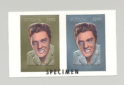 Guyana MI #4526-27 Elvis on 1v Gold & Silver Imperf Compound Sheet o/p Specimen