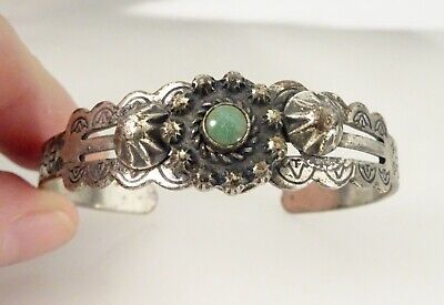 Fred Harvey Era Sanford Navajo Silver Turquoise Cuff Bracelet - 58151