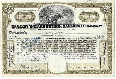 BANGOR AND AROOSTOOK RAILROAD COMPANY (MAINE)...1943 STOCK CERTIFICATE