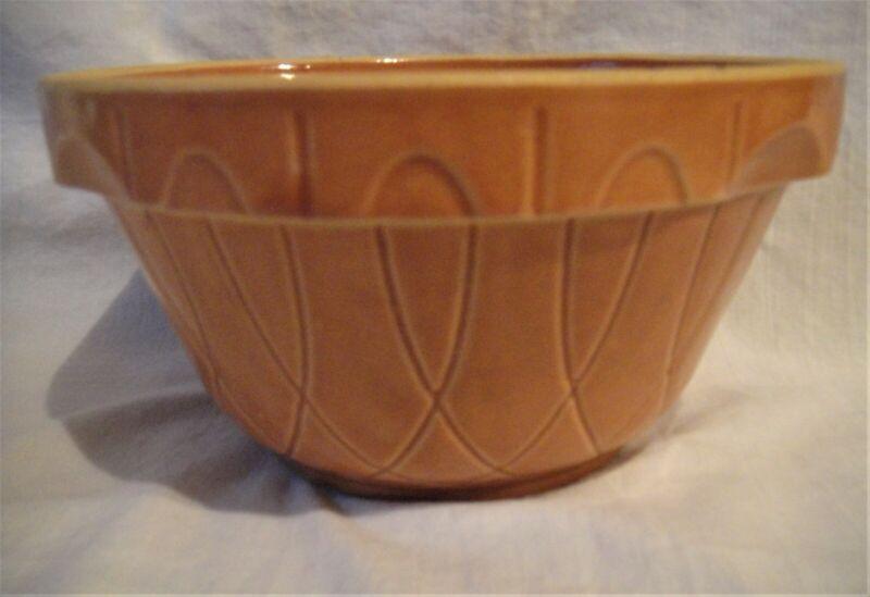 Vintage Watt Pottery Ovenware Bowl, Pumpkin Loop No 7 Mixing Bowl Made USA, VGC