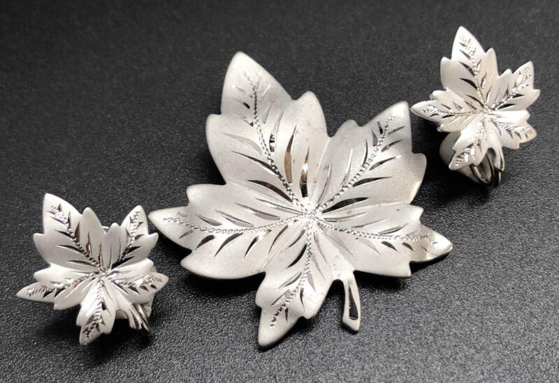 Vintage MARVEL Sterling Silver Leaf Brooch Pin & Screw-Back Earrings Set (RF989)