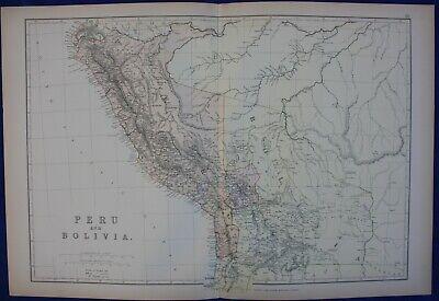 PERU, BOLIVIA, SOUTH AMERICA, original antique map, Blackie, 1884
