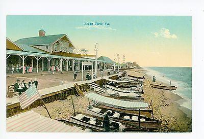 Ocean View VA Boardwalk & Boats NORFOLK Rare Antique Ingleman Pub 1910s