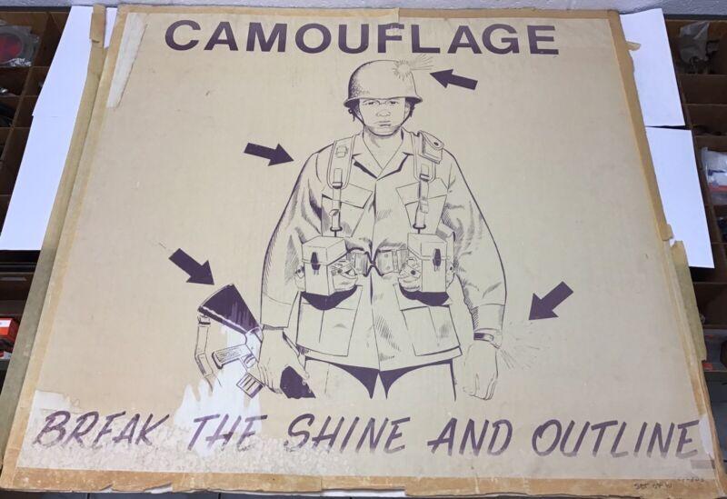 "Vietnam Era Military Teaching Poster ""Camouflage Break The Shine & Outline"""