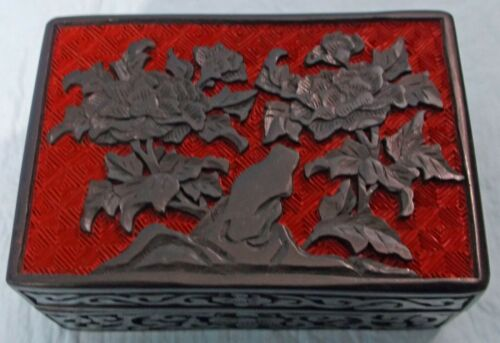 CHINESE CARVED RED & BLACK CINNABAR LACQUER ENAMEL RECTANGLE BOX w/LID