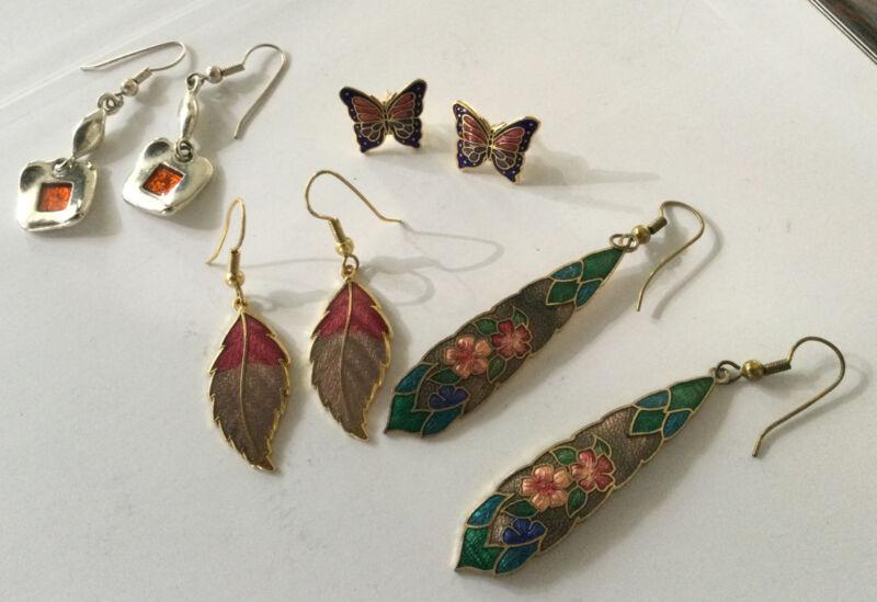 Vintage Pierced Enamel EARRINGS Jewellery Job Lot x 4