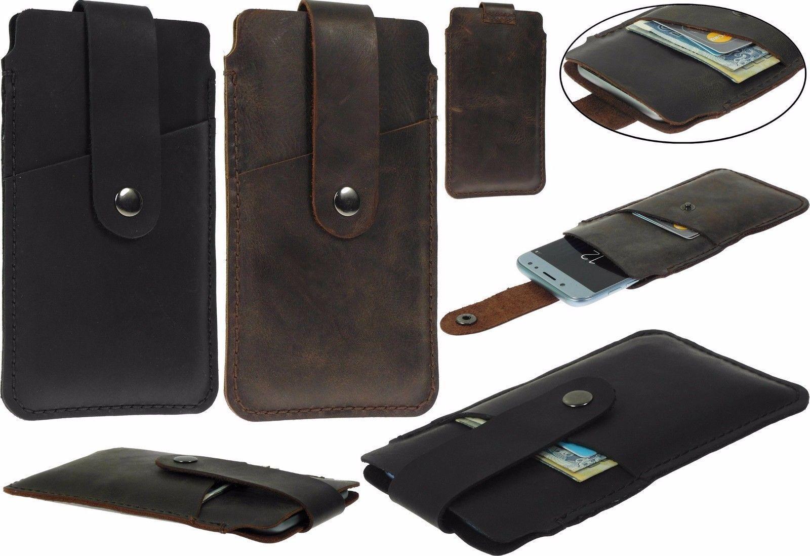 Hand Genäht Tasche mit Riemen und Karte Echt Leder Schutzhülle für Telefone