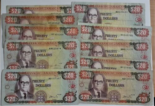 Jamaica 10 Notes lot - 20 Dollars x 10 -  1985, 95, 99