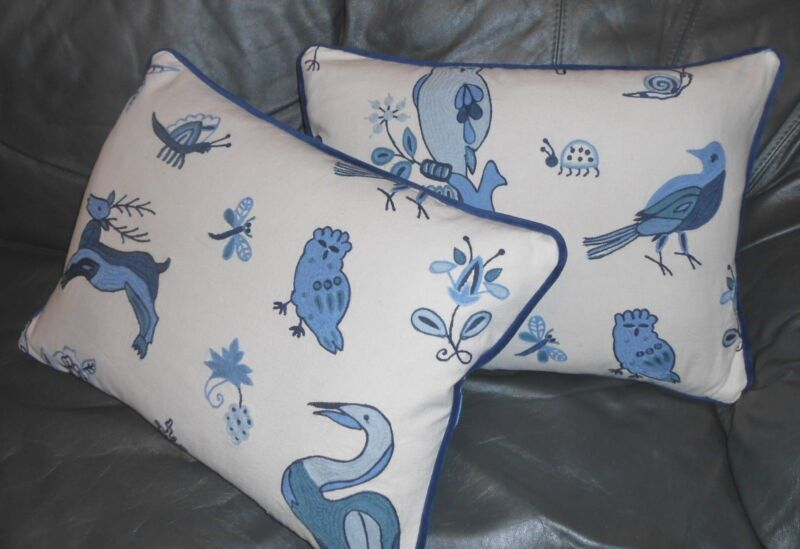 Brunschwig & Fils Throw pillow covers Animal Crewel China Blue on Ivory New PAIR