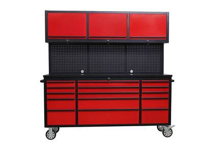 Red powder coated 1.8M Red Workbench Combo