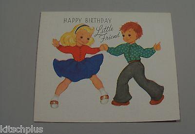 Vtg Birthday Card Castle Craft Child's Rock a Billy Couple Little Friend UNUSED (Little Kid Couple)