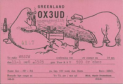 OLD VINTAGE OX3UD GREENLAND AMATEUR RADIO QSL CARD