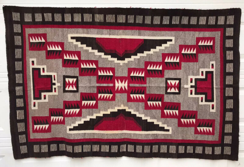 """Antique Navajo Early Storm 1910 Native American Chiefs Blanket Rug 74"""" x 49"""""""