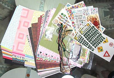 SCRAPBOOKING PAPER, CARDSTOCK 100 SHEETS,  TRIMS BUTTONS STICKERS MORE