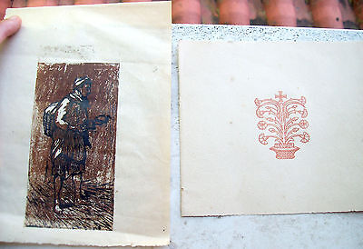 1920 Lot Of Two Woodcuts Archive Francesco Grandparents Seller Of Piedina (?)
