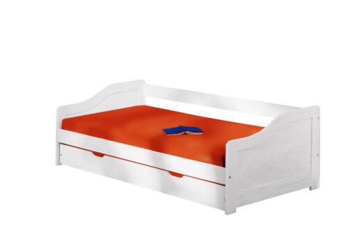 Massivholzbett weiß  Bett 90x200 cm Kinderbett Funktionsbett Kojenbett Massivholzbett ...