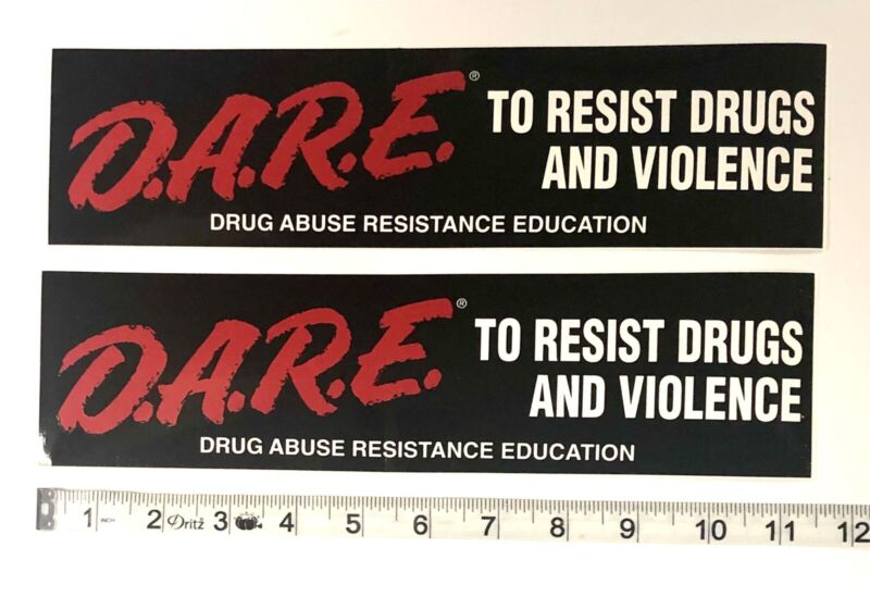 """Lot of 2 DARE To Resist Drugs and Violence Bumper Sticker 11.5"""" X 3"""" Police"""