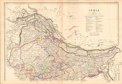 1859  LARGE ANTIQUE MAP - J&C WALKER - INDIA NORTH & SOUTH, 2 SHEETS, PEGU,STRAI