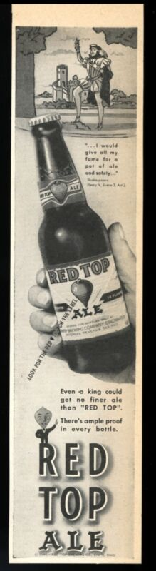 1946 Cincinnati's Red Top Ale bottle photo vintage print ad