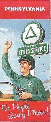 1959 CITIES SERVICE Gas Station Locator Road Map PENNSYLVANIA Philadelphia Erie