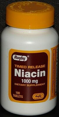 Rugby Niacin 1000mg Timed Released Tablets 100ct -Expiration Date 04-2020- ()