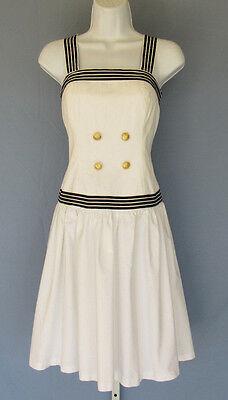 VINTAGE 1970s 80s MELISSA PETITES DRESS WHITE BLACK TRIM SIZE 8 COTTON NAUTICAL
