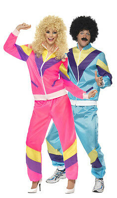 80s Costumes For Couples (Couples Ladies & Mens 80s 1980s Shell Suit Tracksuit Fancy Dress Costumes)