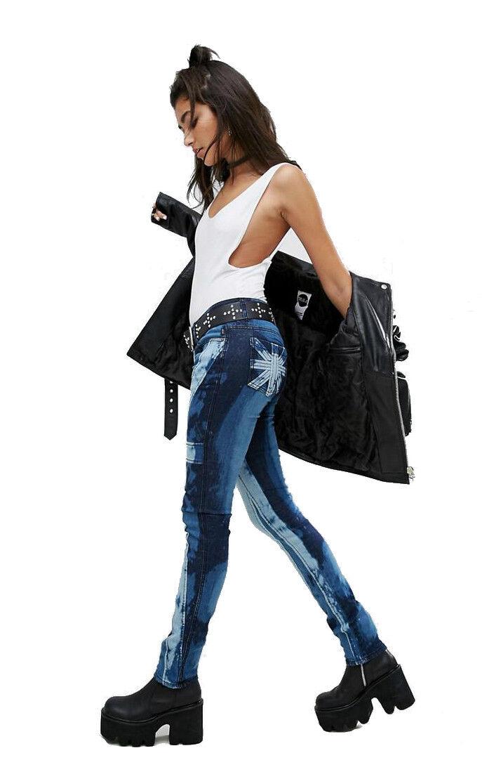 RARE! TRIPP UNION JACK BLEACH REBEL SKINNY JEANS PANTS PUNK ROCKER BIKER REDNECK Clothing, Shoes & Accessories