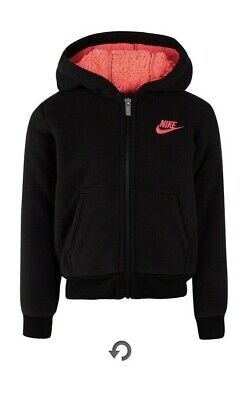 Nike Girls Kids Cuffed Sleeve Sherpa Hoodie French Terry Jacket Black Pink
