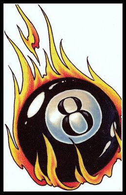 FLAMING MAGIC 8 EIGHT BALL BILLIARDS LUCKY POOL SHARK TABLE~TEMPORARY - Shark Tattoos