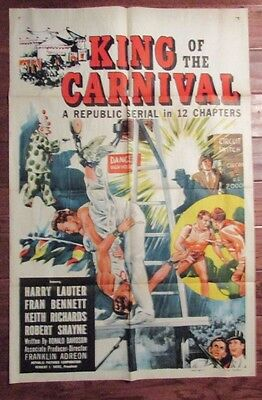1955 King of the Carnival 1-Sh Movie Poster 27x41 VG Harry Lauter, Fran Bennett