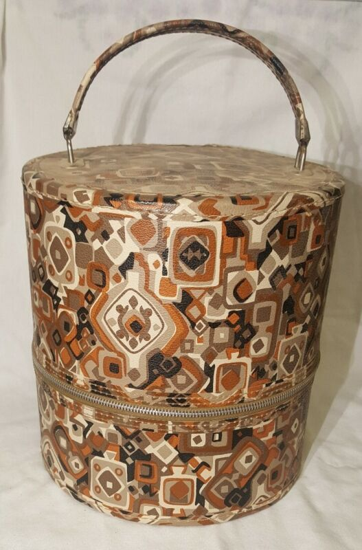 Vintage Multi Colored Hat/Wig Box Round Case, Rose inside - 10 inch tall -