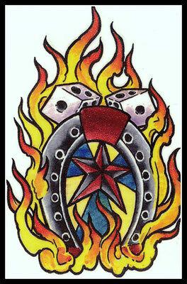 WESTERN COWBOY STAR LUCKY HORSESHOE FLAMING FIRE DICE~TEMPORARY TATTOO~WILD - Cowboy Temporary Tattoos