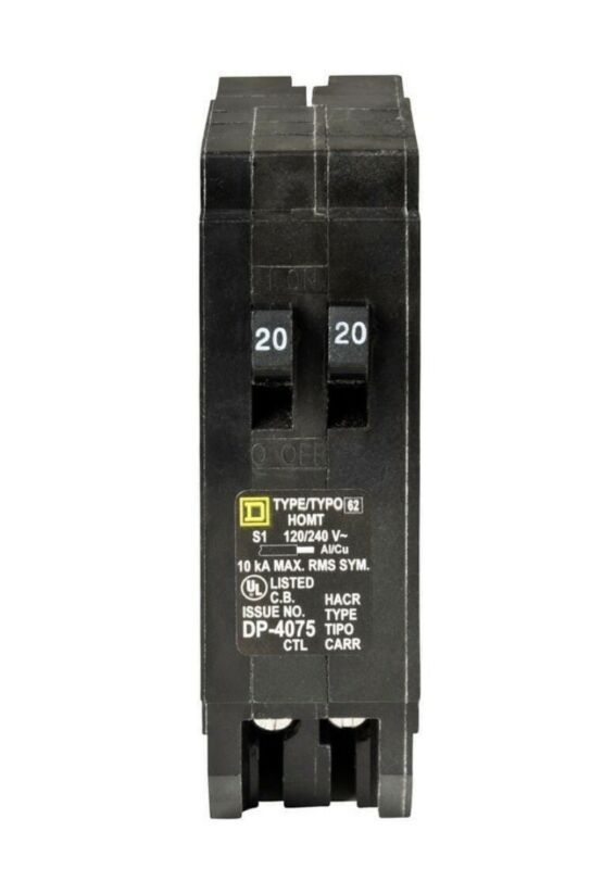Square D Homeline 20 Amp Twin 1 Pole Tandem Circuit Breaker HOMT2020 HOMT2020CP