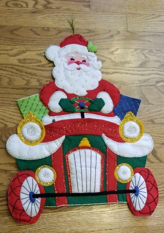 Vintage Felt Jeweled Sequin Christmas Card Holder Santa
