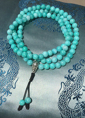 Mala Prayer Beads Turquoise Jade & Silver Guru-Bead from Nepal! 8mm,Best Quality