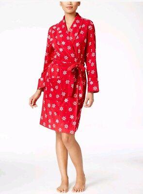 Charter Club Red Snowflake Soft Fleece Short Robe Women's Christmas Gift - Christmas Robes