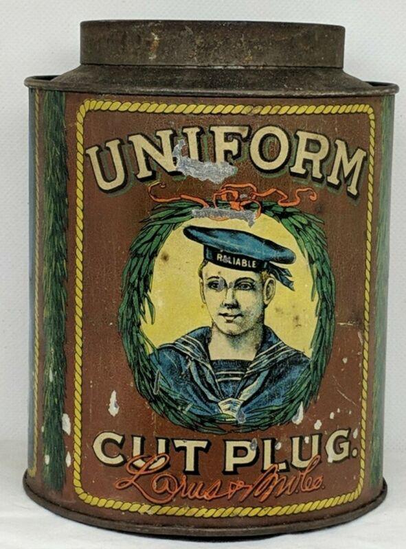 Early *UNIFORM* Small-Top Round Empty Antique Tobacco Tin - Larus & Bro. (492)