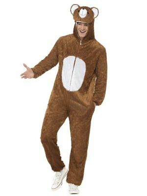 Smiffys Brown Bear Zoo Animal Adult Mens Halloween Costume Jumpsuit 31680 - Mens Bear Halloween Costume
