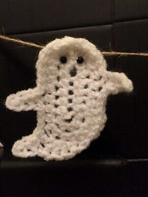 Ghost Bunting Garland Crochet Handmade Spooky Party Halloween White Home Decor (Crochet Halloween Garland)