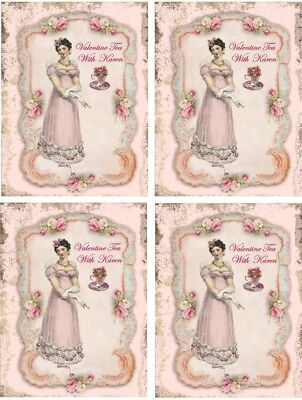 Valentine Party Invitations (Valentine Vintage inspired 8 tea time party invitations with)