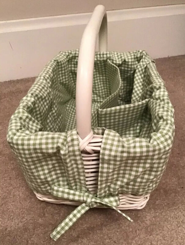 Pottery Barn Kids green and white gingham diaper caddy liner