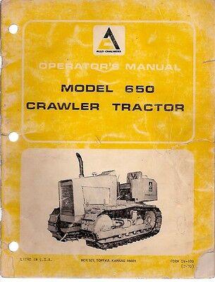 Allis Chalmers 650 Crawler Tractor Operators Manual