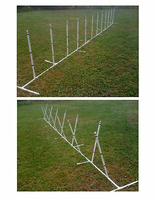 Dog Agility Equipment 12 Weave Poles with Adjustable Angle and Spacing